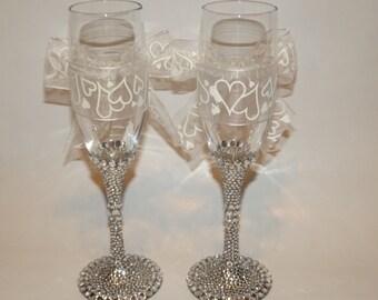 Rhinestone Bling Champagne Toasting Flutes Wedding Bridal