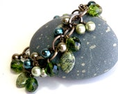 Statement Bracelet, Charm Style, Gift for her, Russian Jasper, Teal, Pastel green, Chain link, Brass Jewelry