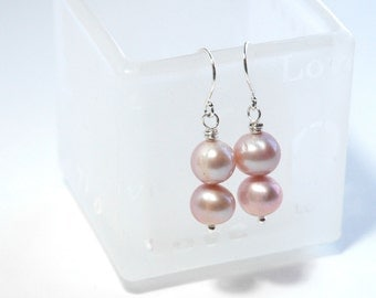Pink Pearl Earrings, Dangle earrings, Bridesmaid earrings, Pastel jewelry, Spring fashion, Sterling silver, Pearl Jewelry, June Birthday