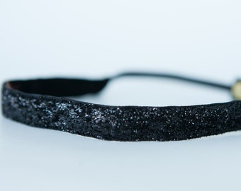 "No Slip Glitter Headband  Black  3/8"", 5/8"", or 1.5"""