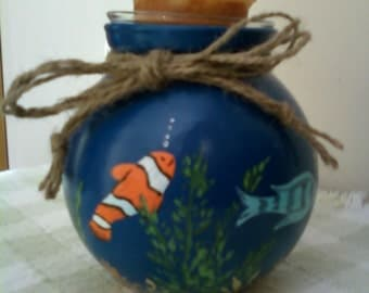 Hand Painted Little Fish Candle Vase