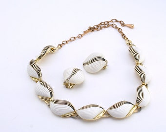 60's Vintage Necklace and Earring Set, White and Gold Scalloped Lucite