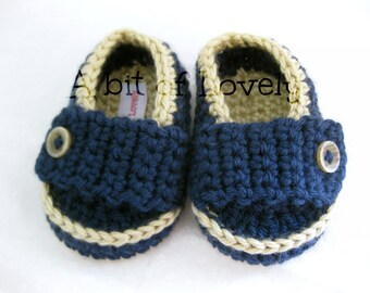 Spring Baby Boy Shoes / Slippers / Booties - Tan & Dark Blue - YOUR choice size - (newborn - 12 months) - photo prop - children