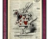 WHITE RABBIT Illustration Dictionary Art Print Rabbit Drawing White Rabbit Print Alice In Wonderland Heart Art Rabbit Art