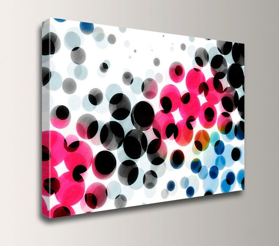 "Hot Pink Art - Polka Dot Pattern - Wall Art - Modern Wall Decor - "" Tango """