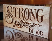 Personalized Family Name Sign, 5th Anniversary Sign, Benchmark Custom Signs Cherry SN