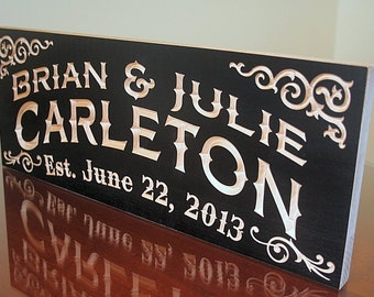 5th Anniversary Sign, Engagement Date Sign, Carved Wooden Sign, Last Name Sign, Carved Wedding Sign, Benchmark Signs Maple CC