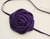 Back to Basics- DARK PURPLE  Rosette headband, everyday headbands, purple headbands, newborn headbands, photography prop