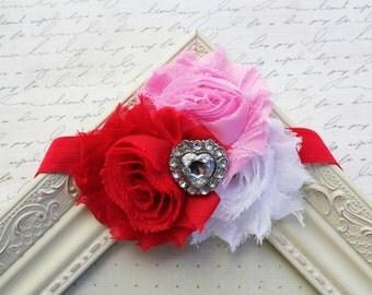 Red and Pink Chiffon flower headband, baby headband, newborn headband, valentine's day headbands, photography