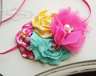 Summer Sweetness- Seafoam, Pink and Yellow headband, pink headbands, rosette headbands,newborn headbands, summer headbands,photography prop