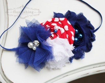 Royal Blue Red and White headbands, 4th of july headbands, fourth of july headbands, satin headband, newborn headbands, photography prop