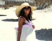Large Ruffle Canvas Beach Tote - Free Personalization