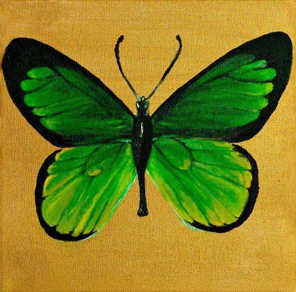 Green and Gold Butterfly Acrylic Painting on Canvas