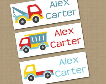 Personalized Waterproof Label Stickers - Boy - trucks - Perfect for Bottles, Sippy Cups, Daycare, School - 043