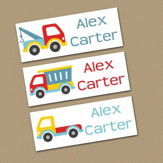 Personalized Waterproof Label Stickers Boy Trucks