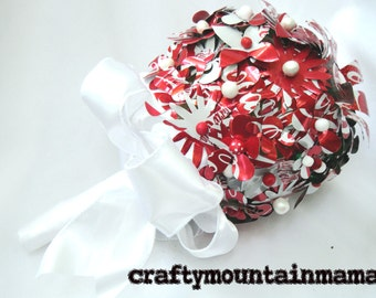 "Coca-Cola Wedding Bouquet, 8"" Diameter, Recycled Coke Cans"
