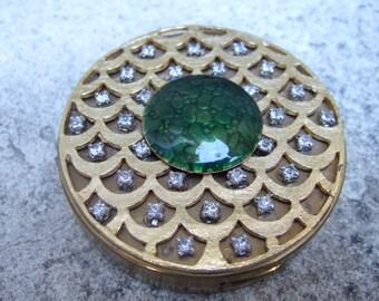 Crystal Jeweled Cloisonne Gilt Compact  c 1950 -1960