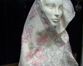 EMILIO PUCCI Silk Floral Large Dramatic Scarf c 1970