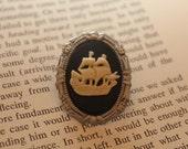 CLEARANCE! Cream On Black Pirate Ship Silhouette Cameo Mini Brooch