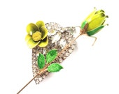 Wedding Flower Rose Rhinestone Statement PIN in Chartreuse, Green, Gold & Crystal Jewelry by ZiLLAs QuEeN