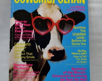 Vintage Cowsmopolitan Dairy Magazine, 1987 Cows Bull Farming Agriculture FFA Farm Animals Gag Gift Collectible Paper Ephemera Advertising