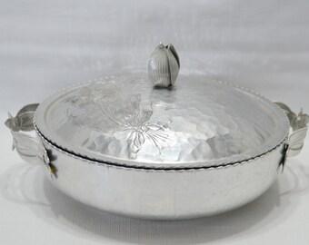 Vintage Hammered Aluminum Chafing/Serving Dish
