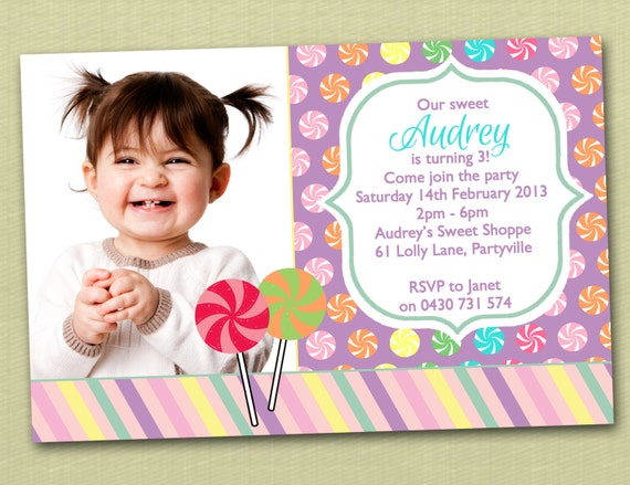 Photo Personalised Sweet Shoppe Birthday Invitations - You Print
