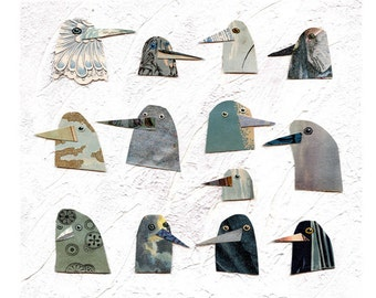 birds I have known 1, birds, bird heads, blue birds, mixed media birds, mixed media collage, mixed media print