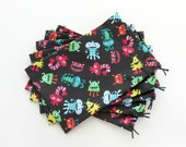 Monster Birthday Party Bags / Monster Party Favors / Treat Bags / Fabric Goody Bags / Cloth Goodie Bags / 6.25 x 9.5 inches / Set of 5
