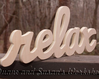 relax Sign, DIY Wall hanging, Wooden relax sign, wooden letters, home decor, wood sign, Housewares, Wall Decor