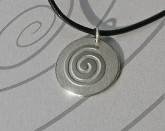Silver Jewelry, Silver Pendant, Silver Jewellery, Spring Necklace, 'Mexican Spiral Shimmer'.