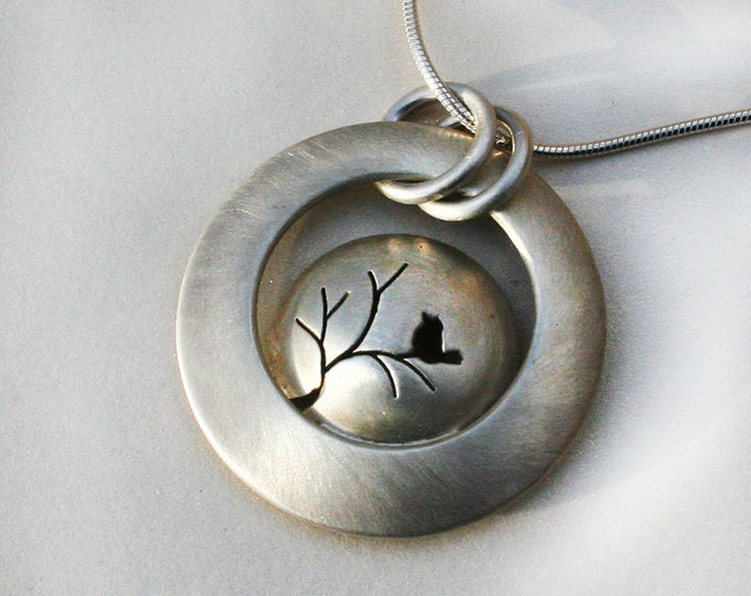 Silver Jewelry, Silver Jewellery, Silver Pendant, Songbird on a Tree, Tree Pendant, Bird Jewelry.