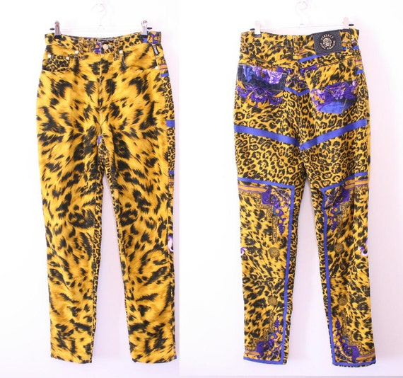 80s VERSACE Baroque Leopard Printed Skinny Jeans - Editorial worthy