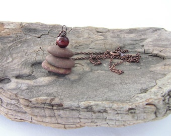 Cairn - Cairn Necklace - Stacked Stones - Stacked Beach Stone Necklace - Stacked Beach Stone Pendant