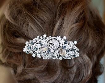 Bridal Hair comb, Black Diamond, Crystal Hair Comb, Swarovski comb, Crystal Roses, drop comb, Wedding Accessories, Weding Comb,