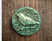 Distressed Rustic Bird on a Branch Polymer Clay Pendant