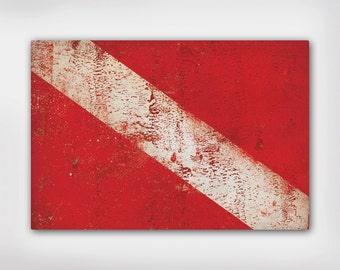 20x30x1.5  -  READY to HANG - Scuba NAUTICAL Flag Stretched Canvas Wall Art 20x30x1.5 inches Signed