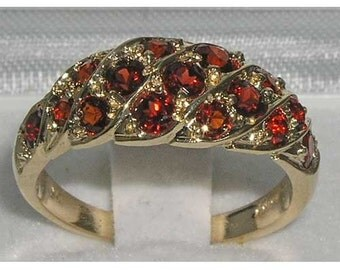 9K English Yellow Gold Genuine Garnet Cluster Eternity Band, Wave Ring, Anniversary Ring - Made in England -Customize:9K,14K,18K