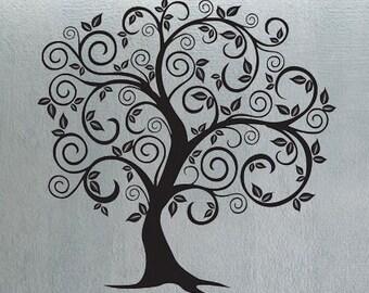 Swirly Tree 6 - uBer Decals Wall Decal Vinyl Decor Art Sticker Removable Mural Modern A321