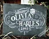 Personalized Chalkboard Wedding Sign - Hand Drawn, Permament Chalkboard Reception sign
