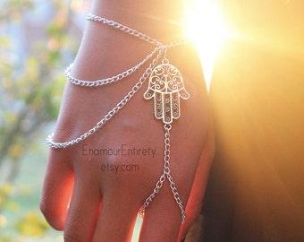 Silver Hamsa Slave Bracelet