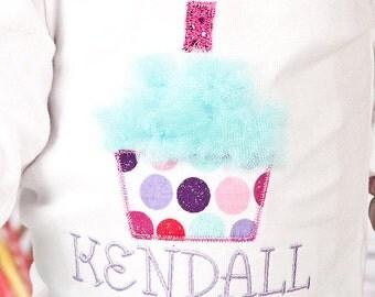 My First Birthday Personalized Cupcake Bodysuit-Girls Birthday Applique One Piece-Girls 1st Birthday Outfit