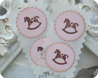 Rocking Horse Stickers (12) Tiny Stickers-Baby Shower Stickers-Mini Stickers-Rocking Horse Labels-Baby Girl Stickers-Baby Boy Stickers