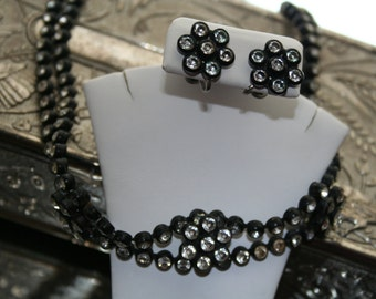 Necklace Charming Goth with Matching Earrings Black Plastic and Rhinestones