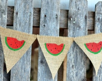 Watermelon burlap banner