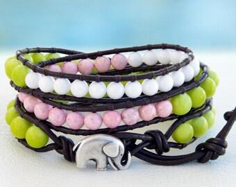 Sakura... Leather wrap bracelet... Beaded Triple Wrap Bracelet. Original OceanBead Style.