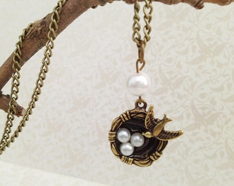 Bird Nest Charm Necklace. Bird Jewelry. Mother's Day Jewelry. Three Children. White Pearl. Vintage Style. Antique Gold. Black. Romantic.