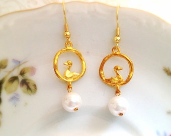 Golden Duck Dangle Earrings. Gold Tone Hoops. Miniature Ducks. Bird. White Pearl. Dainty. Whimsical. Under 15. Gifts for Her.