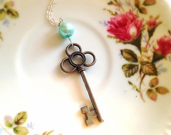 Romantic Key Necklace. Vintage Style. Silver. Aqua Mint Green Pearl. Romantic. Love. 10 Dollars. Gifts for Her.