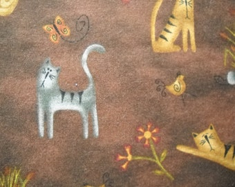 Destash cotton fabric - cute cartoon style orange, gray cat designs on brown nature background - fat quarter